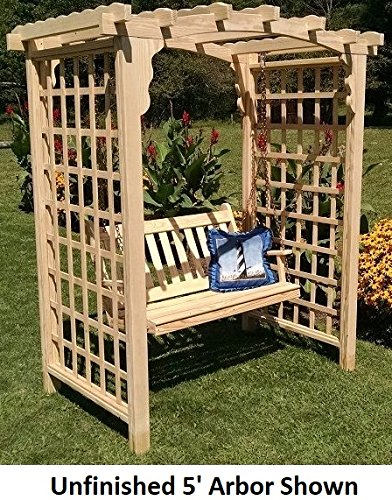 Cedar Arbor Swing - Backyard Crafts Amish-Made Cambridge Style Cedar Arbor with Swing - 6' Wide Walkthrough, Cedar Stain