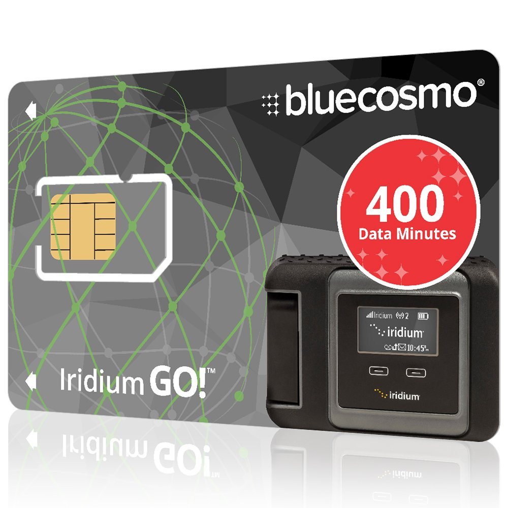 BlueCosmo Iridium GO! 400 Data Minute Prepaid Global SIM Card – 6 Month Expiry – 400 Data Minutes – 200 Voice Minutes – 1,200 SMS Text Messages – No Activation Fee – No Monthly Fee – Rollover