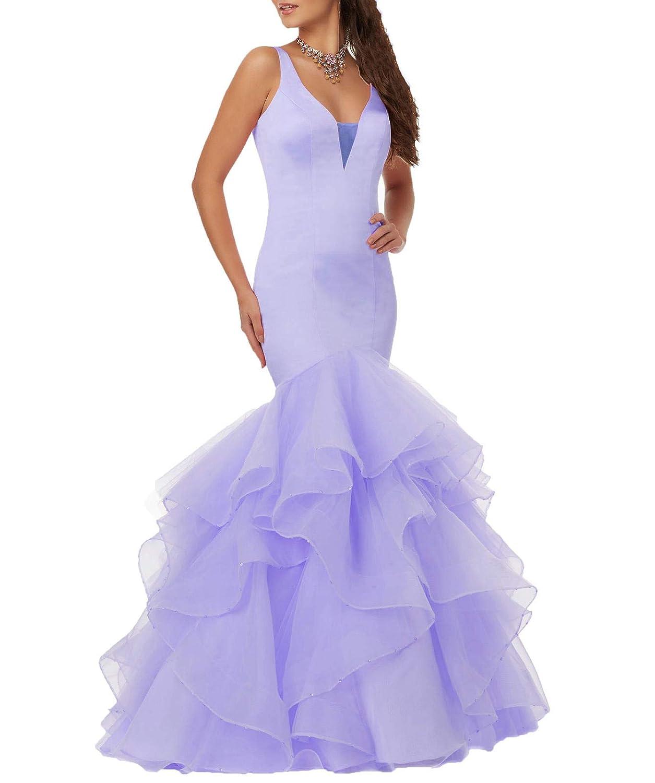 bluee Wanshaqin Women's VNeck StackUp Organza Ruffles Wedding Dresses Open Back for Bride Plus Size