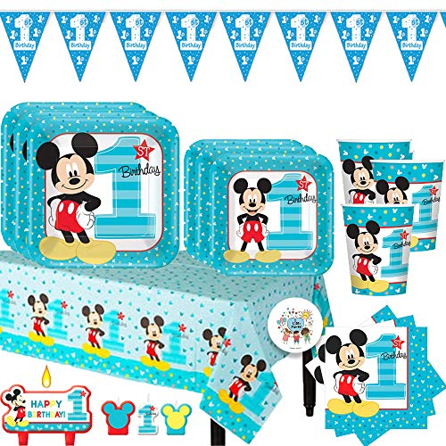 12' Dinner Candles - Mickey Mouse Fun to Be One First Birthday Party Essentials Pack For 16 With Dinner and Dessert Plates, Napkins, Tablecover, Cups, 1st Birthday Pennant Banner, Candles and Exclusive Pin
