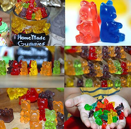 265 gummy bears total +5 Droppers Chocolate Molds 100/% BPA Free and FDA Approved GummyBearMolds-5Color Gummy Bear Candy Molds Bekith 5 Pack Gumdrop Jelly Molds