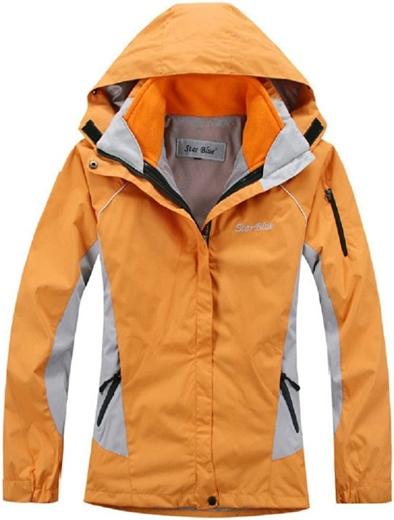 Ausom Womens Outdoor Skiing Mountaineering Three-in-one Two-piece jacket