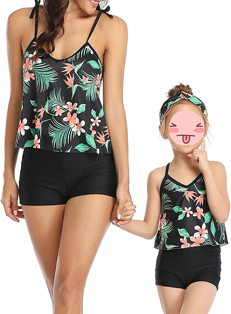 AmzBarley Madre Figlia Costumi da Bagno Due Pezzi Genitore Bambina Tankini Set Costume da Bagno Donna Ragaza Vintage Balza Top Pantaloni a Vita Alta
