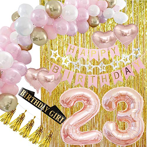 Happy 23rd Birthday Decorations Party Supplies Rose Gold-DIY Balloon Garland Kit, Happy Birthday Banners, Gold Metallic Fringe Curtains as Backdrops for Women, Her Girls and Anniversary Even]()