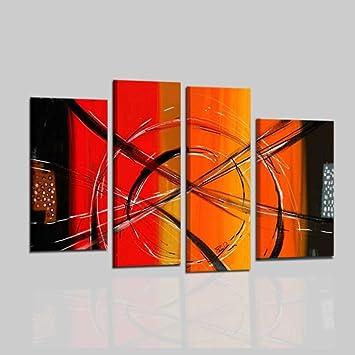 Moderne Gemälde Handgemalt Öl auf Leinwand Geometrisch Orange ...