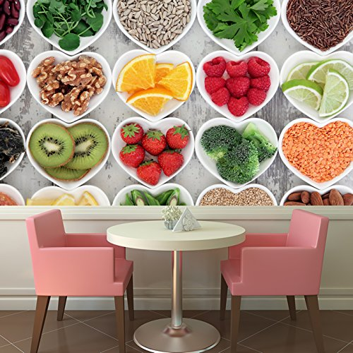 Fruit & Vegetable Heart Background Kitchen Wall Mural Food Photo Wallpaper available in 8 Sizes Gigantic Digital Children Height Food Bar