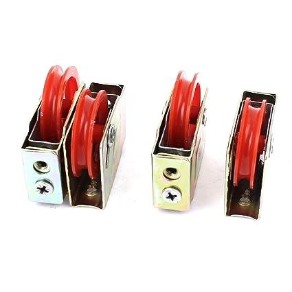 sourcingmap® 4Pcs Polea De Rodillo 73 Tipo Único Rojo De Elevalunas Para Puerta De La