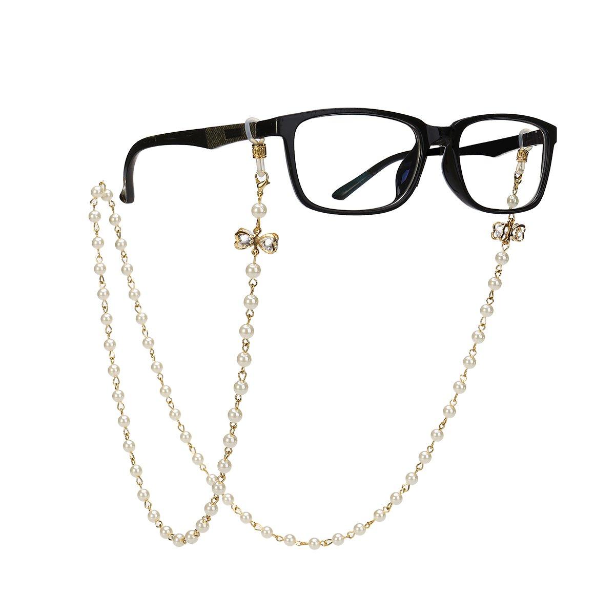 Tinksky Brillenkette mit Bowknot Imitation Perlen Gläser Strap Cords Sunglass Holder Lanyard Halskette Brillen Halter Hals Cord Strap 154649SDJ2F5200