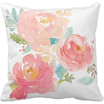 Amazon Emvency Throw Pillow Cover Flower Girly Peonies Summer Classy Girly Decorative Pillows