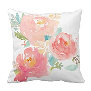 Emvency Throw Pillow Cover Flower Girly Peonies Summer Watercolor Pastel Floral Mint Decorative Pillow Case Home Decor Square 18 x 18 Inch Pillowcase