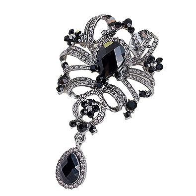 abf131e3d YAZILIND Leaves Hollow Rhinestones Alloy Zirconia Pendant Brooch Pin for Women  Girls Accessories(Black)