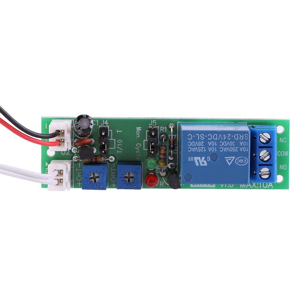 DC24V 0-15min Adjustable DC 5V 12V 24V Adjustable Cycle Trigger Delay Timing Timer Relay On//Off Switch