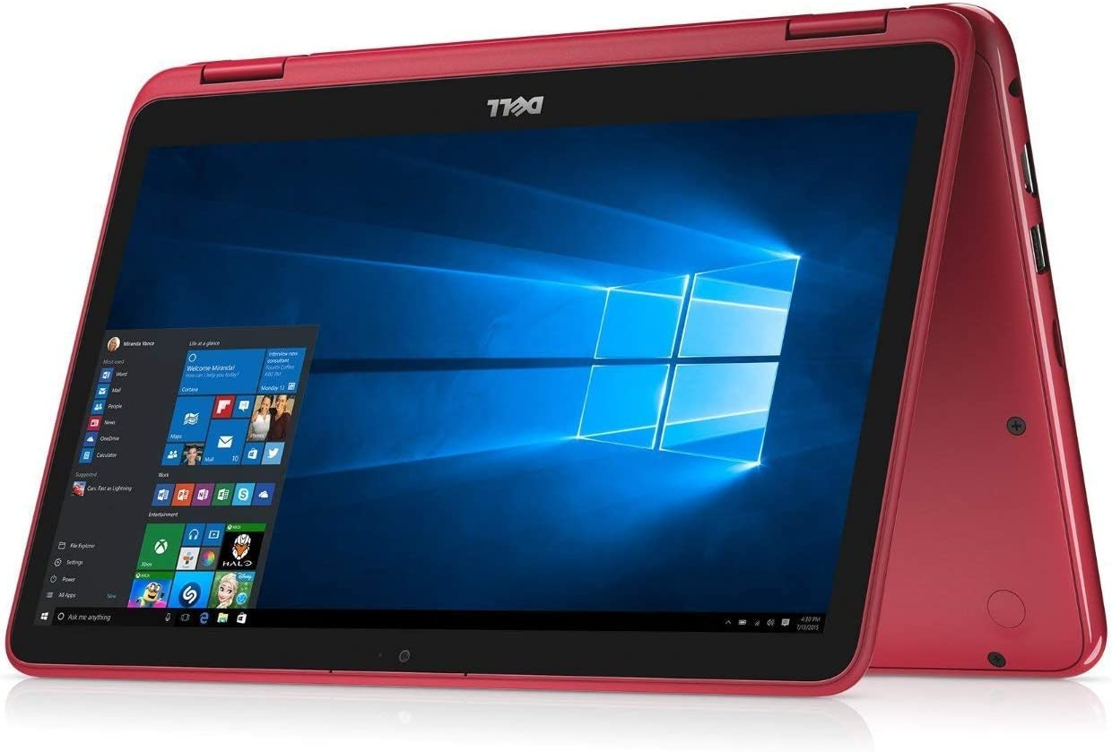 "2019 Dell Inspiron 11.6"" Touchscreen 2-in-1 Laptop Computer, AMD A6-9220e 1.6 GHz Up to 2.4GHz, 4GB DDR4 SDRAM, 64GB eMMC SSD, WiFi, Bluetooth, USB 3.1, HDMI, Red, Windows 10 S"