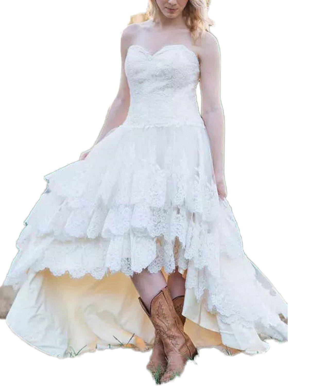 CoCogirls Western Land Spitze Hochzeitskleid Hi-Low Hoch niedrig ...