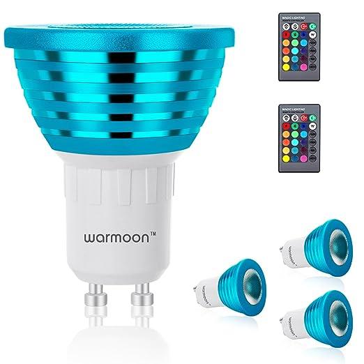 Bombillas LED GU10 regulables, 3W, modo de color cambiante RGBW con color blanco para