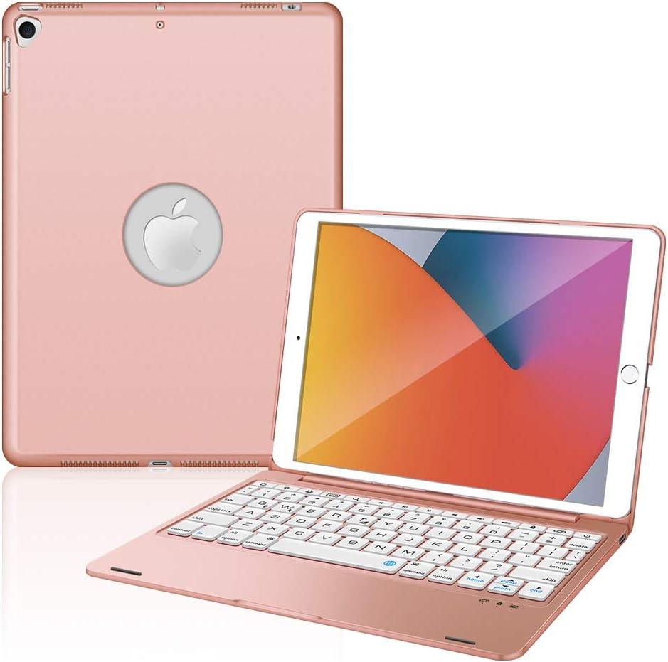 iPad Keyboard Case for New iPad 10.2 8th 2020 & 7th 2019, iPad Air 3 10.5 2019, iPad Pro 10.5 2017, Bluetooth iPad Keyboard with 135° Smart Hard Cover - Rose Gold