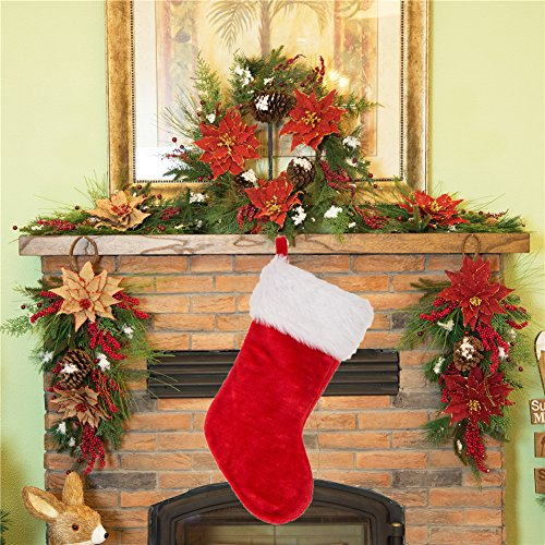 Glitzhome Christmas Decor Traditional Red Plush Santa Stocking ()