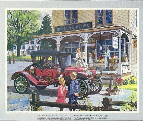 1911 Maxwell Sport Roadster GAR at General Store Humble Oil calendar print 1960s