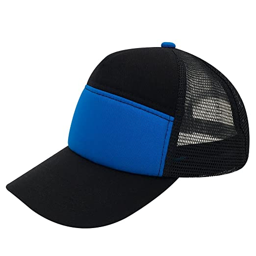 Plain Trucker Cap Mesh Hat Adjustable Snap Back Outdoor With Small Braid cap  (Black  59aced7d702