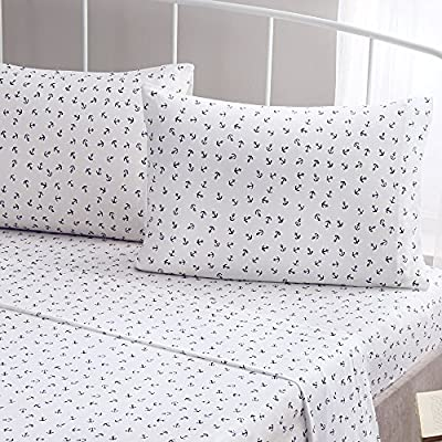 Brielle Fashion 100% Cotton Jersey Sheet Set, Twin, Anchor - Jersey knitted (t-shirt); single-ply yarns; imported Twin sheet set includes flat sheet, fitted sheet, and 1 pillow case 66-By-96 inch flat sheet, 39-by-75 inch fitted sheet, 20-by-30 inch standard pillow case - sheet-sets, bedroom-sheets-comforters, bedroom - 61ITWqSBtHL. SS400  -