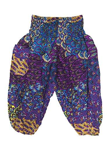 Lofbaz Kids Hippie Harem Child Retro Colourful Peacock Boho Pants Purple 0-3M (Peacock Baby)