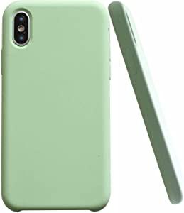 CheapSunday Soft Liquid Silicone for iPhone Xr Cover Case Inner Soft Microfiber Cloth Lining Cushion for Apple iPhone XR 6.1 inch (Light Green)