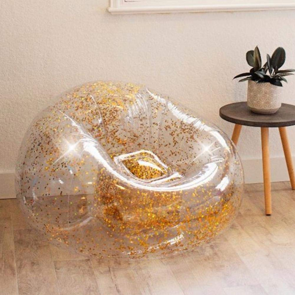 Sequins Inflatable Sofa Lounger Air Sofa Couch Cute Recliner Fashion Outdoor Cushion Bedroom Sofa Beach Chair Lazy Cute Comfortable Portable Sofa by puremood (Image #1)