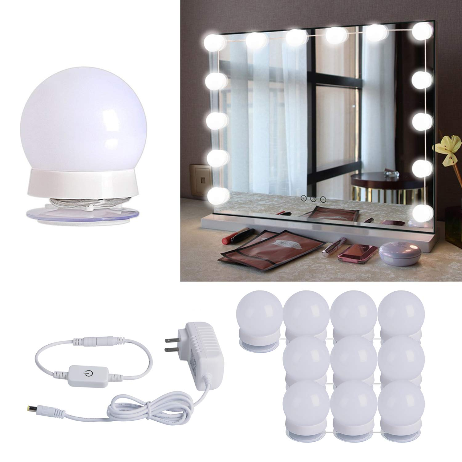Hollywood Style LED Vanity Mirror Lights Kit with 10 Dimmable Light Bulbs For Makeup Dressing Table and Power Supply Plug in Lighting Fixture Strip, Vanity Mirror Light, White (No Mirror Included) by Brightown