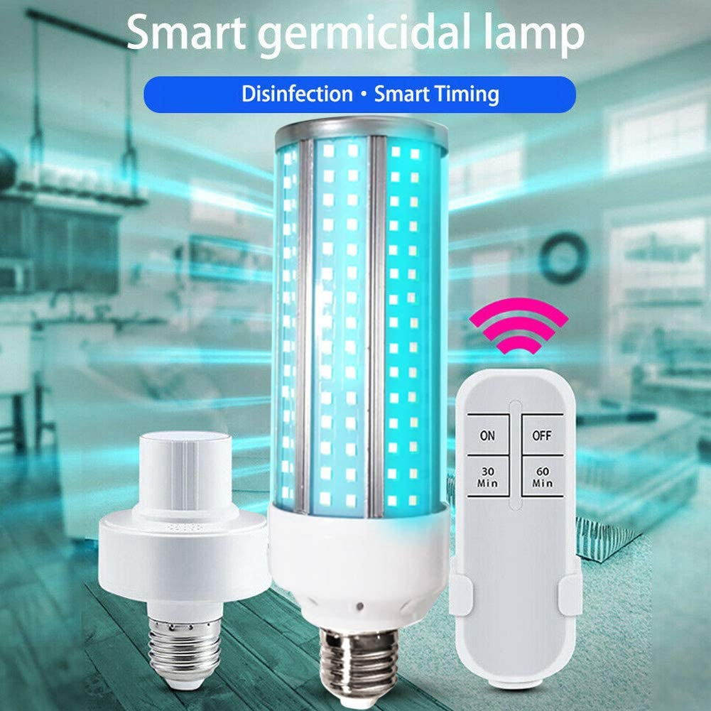 Jennles UV 60W Lamp LED UVC Bulb E27 Household Light Bulbs with Remote Control for Home Energy Saving Remote Control Lampholder Bulb EU Plug