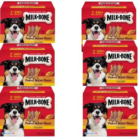Milk-Bone Peanut Butter Flavor Dog Treats Variety Pack, Small/Medium/7 lb by Milk-Bone (6 Box) by Milk-Bone