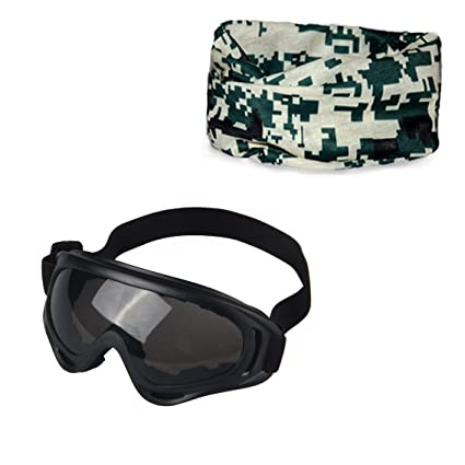 e7f704630a8 2 in 1Outdoor Sports Ski Airsoft Goggles half face Headwear Headband Magic  Scarf Seamless UV Protection Windproof Ski Glasses for CS Army Tactical  Military ...