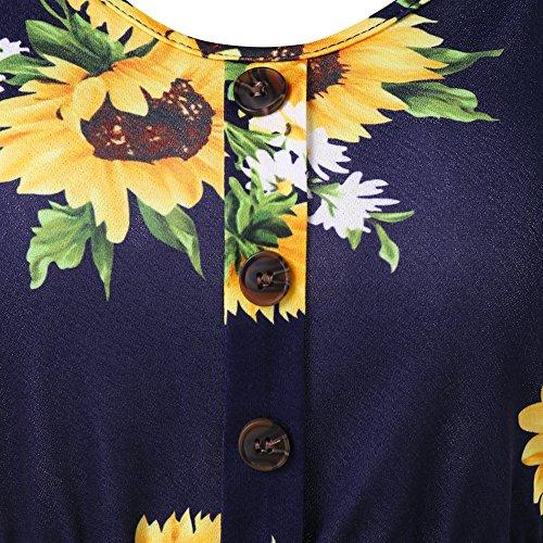Spaghetti Blue Cami up A Dress Print DEZZAL Strap Sunflower Line Deep Button Women's BxHw5qUa