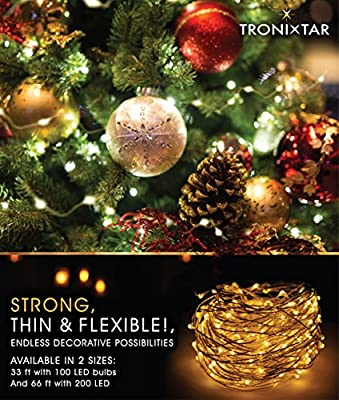 Tronixtar Indoor 100 LED String Lights, 33-Feet Flexible Copper Wire and Remote Control with 11 Brightness Modes and Timer, White Warm