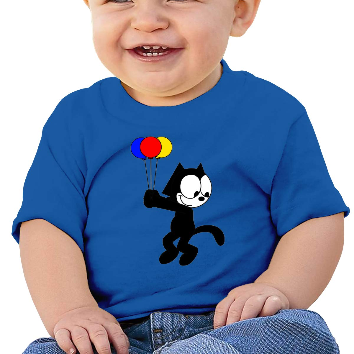 Boys Girls Shirts Smart Felix The Pussy Cat Baby Tees Durable Blue Tank Top for Children