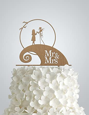awac43s wood wedding cake topper inspired by nightmare before christmas