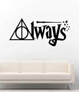 Harry Potter Wall Decals Sign of The Deathly Hallows Quotes Always Decor Stickers Vinyl MK2907