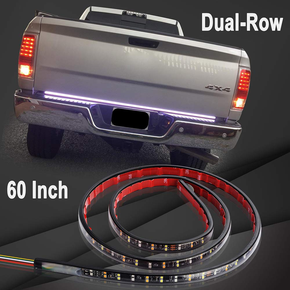 YORKING 60 Inch 2-Row LED Truck Tailgate Light Bar Strip Red/White Reverse Brake Stop Turn Signal Parking Running Weatherproof No-Drill Installation Universal Pickup Car SUV RV Trailer Ford F150