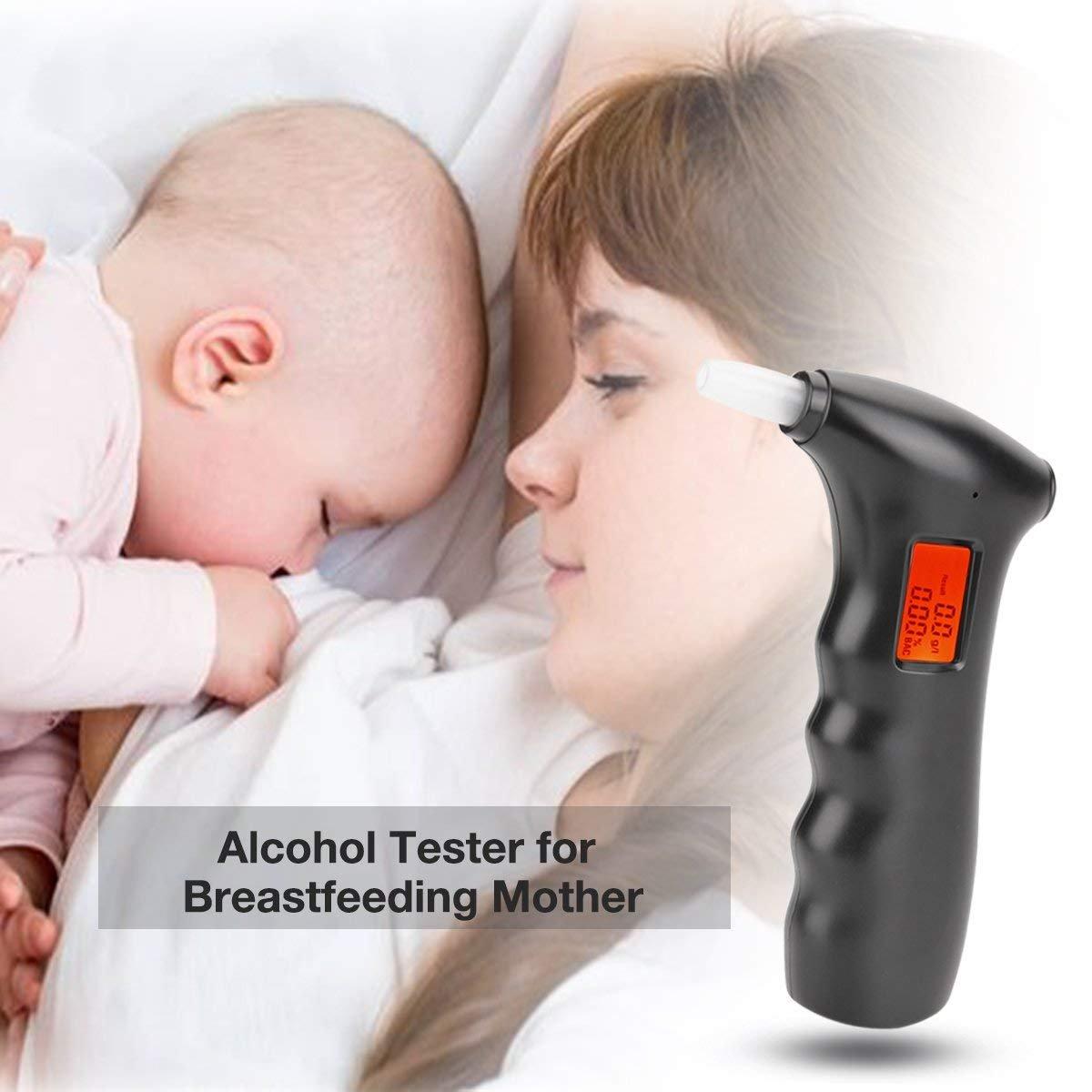 bedee Alcoholímetro Digital Portátil, Detector Electrónico del Alcohol del Aliento, Analizador Profesional del Tester con Sensor Semiconductor, con la Pantalla LCD, con 5 Boquillas