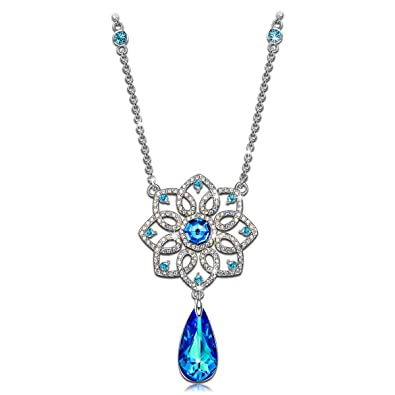 Kate Lynn Women Rhodium Plated Crystal from Swarovski Waltz of the Snowflakes Necklace Pendant Nickel Free Passed SGS test GJ928