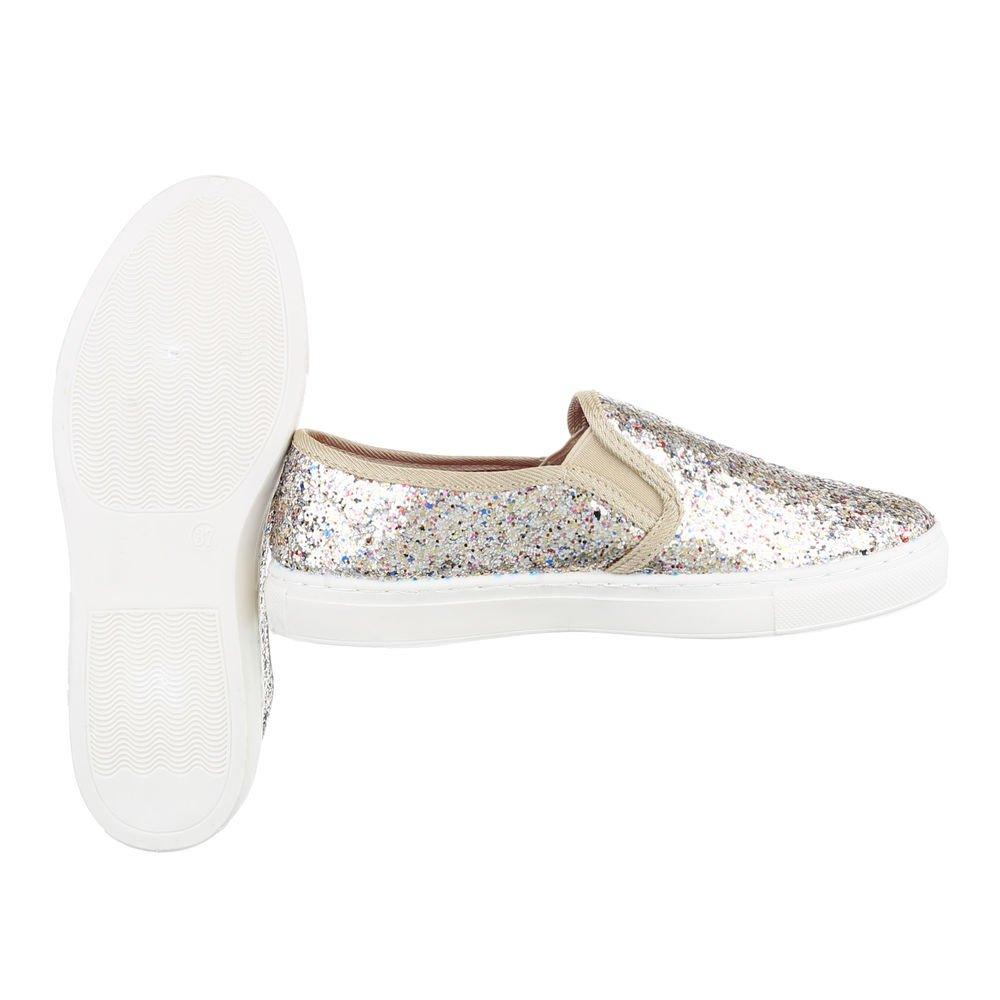 Ital-Design Sneakers Low Damenschuhe Sneakers 05235 Low Moderne Freizeitschuhe Gold 05235 Sneakers 013df1