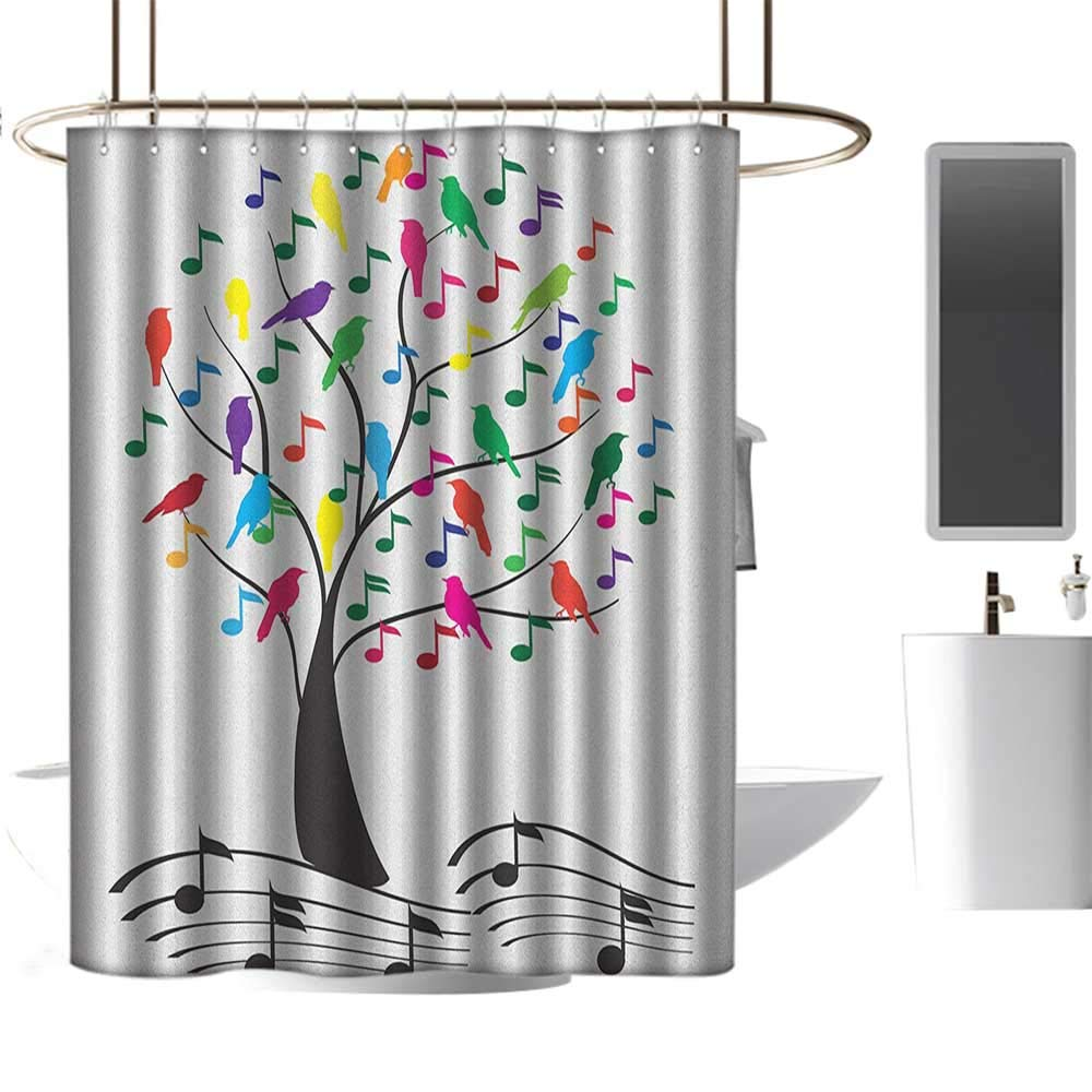 Timbeve fabric shower curtain for bathroom musictree with musical notes and birds on branch happy jolly celebrating playful style multicolorclear metal