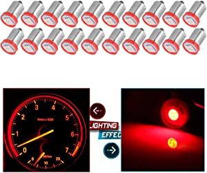 cciyu BA9S 53 57 1895 64111 Instrument Panel Dash Gauge Cluster Ash Tray Light Bulbs Replacement for Glove Box License Plate Boat Cabin Light Lamp,10Pack Red
