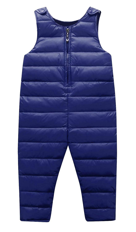 HAPPY CHERRY Kinder Daunenhose Overall Winter Warme Leichtgewicht Baby Schneehose Reißverschluss Jumpsuit Daunenlatzhose