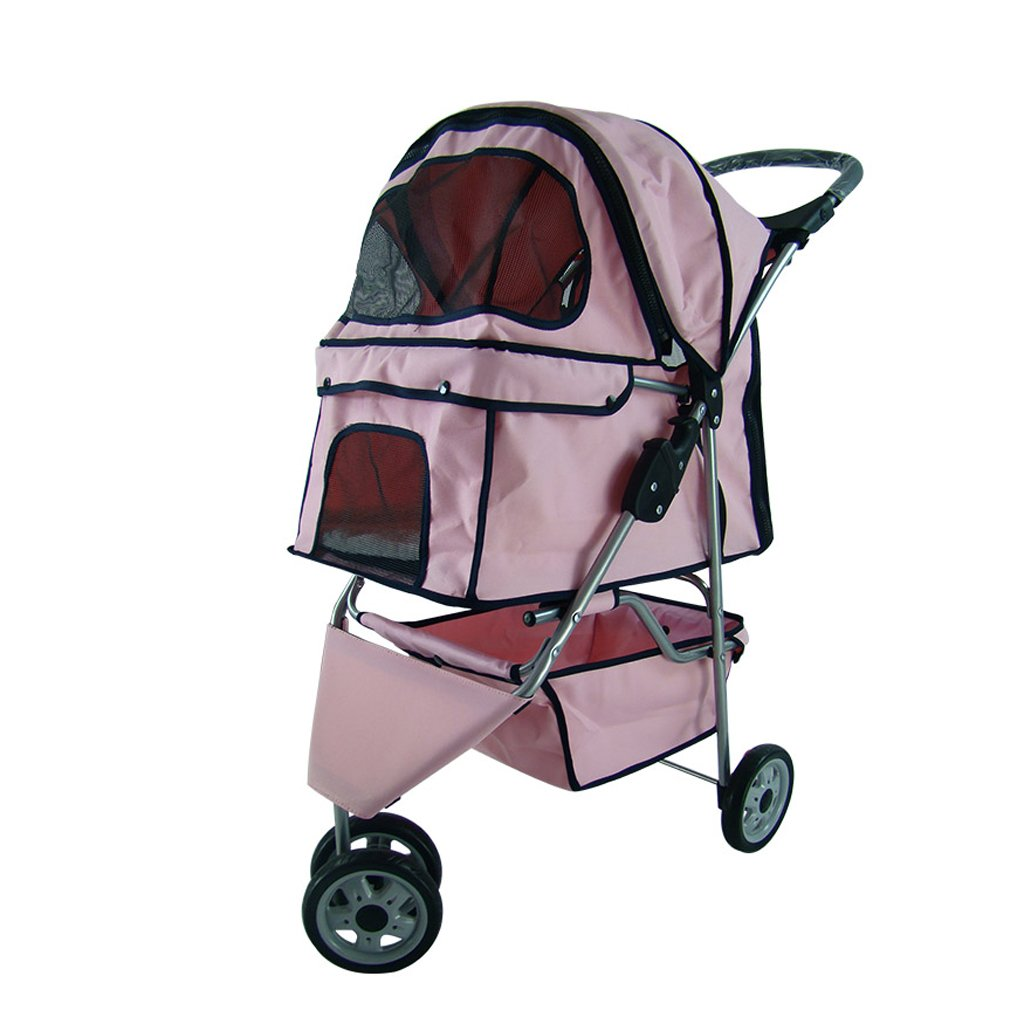 Pink Jia He Pet bag pet car Three-wheeled Pet Stroller Small And Light Portable Foldable Separate Washable Cat Stroller Puppy Scooter Outdoor Travel Pet Supplies (color   PINK)