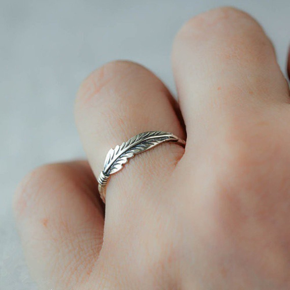 Minimalist Antique Jewelry Solid Sterling Silver Feather Ring Stacking Rings Bride Wedding by Drfoytg
