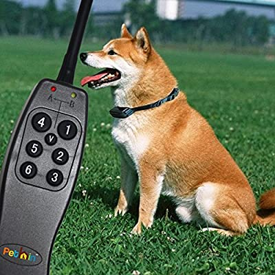 "Dog Training Collar With Remote by Pethinâ""¢ - 600 Feet Range - Rechargeable and Waterproof - Strong Electronic Vibration + Static Shock EZ 7 Control Buttons - for Medium or Large Pet & Dogs - Get Your Best Dog Trainer Device Now!"