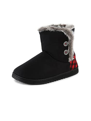 19854de522a Dearfoams Chalet Microsuede Boot Slipper with Buttons Black Large UK India  7-8  Buy Online at Low Prices in India - Amazon.in