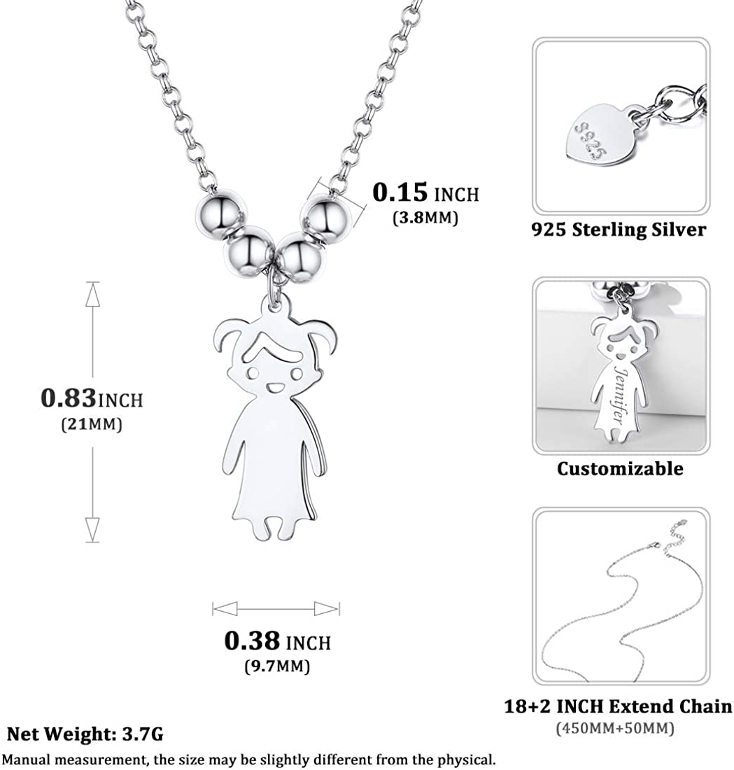 with Gift Box Personalized Children Pendant Necklace 925 Sterling Silver Engraved Boy and Girl Charm Custom Name Necklace for Women Girls Mom Wife Kids