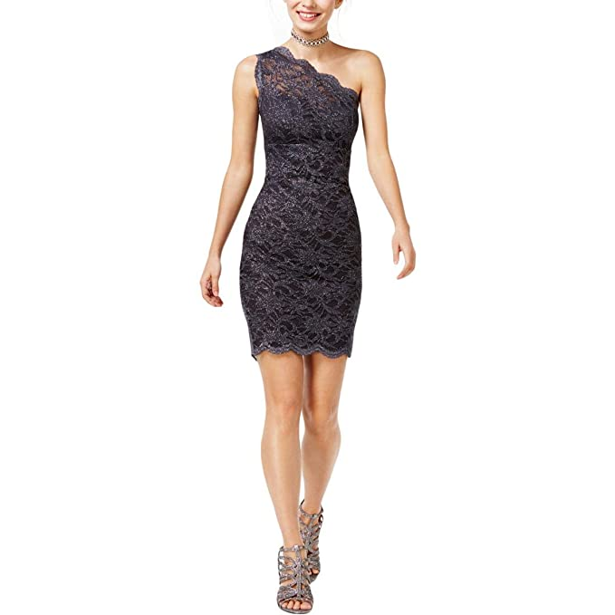 Morgan Co Womens Juniors Glitter Lace Bodycon Dress Gray