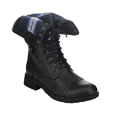 Block Low Heel Ankle Boots For Women Folded Cuff Back Zipper Winter Outdoor Combat Military Shoes
